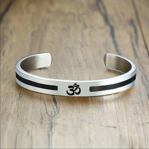 Ohm Aum Cuff Bracelet/Stainless Steel. Unisex.